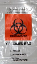 "Biohazard Specimen Collection Bag 6""x9"" with Extra Pocket (100 Per Case)"